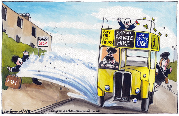 SOUTER AND SALMOND © Iain Green,The Scotsman, Scotland,Scotland, brian souter, alex salmond, political donations, knighthood, snp, bus, freedom of information act, bus stop, scottish referendum, scottish independence