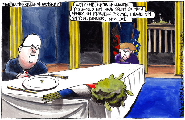 Iain Green - The Scotsman, Scotland - WHEN HOLLANDE MET MERKEL - English - Europe, eurozone, france, germany, francois hollande, angela merkel, meeting, dinner, finance, french president, german chancellor, brandenburg gate, austerity, flowers