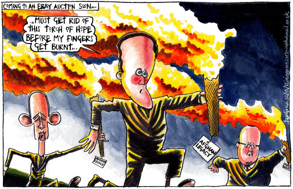 Iain Green - The Scotsman, Scotland - OBAMA CAMERON HOLLANDE FLAMING AFGHAN TORCH LEGACY - English - Afghanistan, olympics, obama, cameron, hollande, legacy, torches, flames, burning, popularity, opinion polls