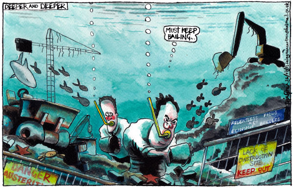 Iain Green - The Scotsman, Scotland - DEEPER AND DEEPER UK RECESSION - English - UK, recession, david cameron, george osborne, construction industry, ocean, tipper truck, crane, building site, shark, fish, austerity, economy