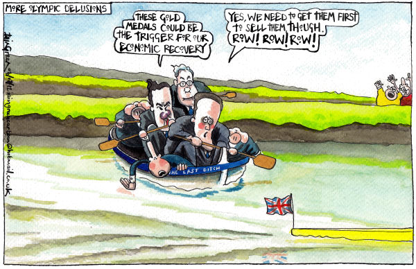 Iain Green - The Scotsman, Scotland - UK ECONOMY DELUSIONS - English - UK, olympics, gold medals, rowing, david cameron, george osborne, mervyn king, oars, monkey, economy, recession