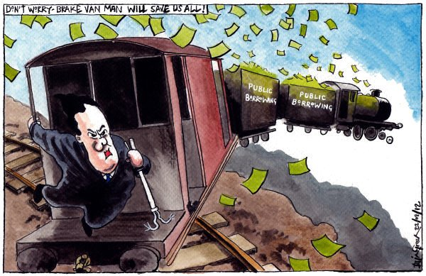 Iain Green - The Scotsman, Scotland - UK RUNAWAY PUBLIC BORROWING DEFICIT - English - UK, economy, george osborne, public sector, steam train, runaway train, tracks, brake van,