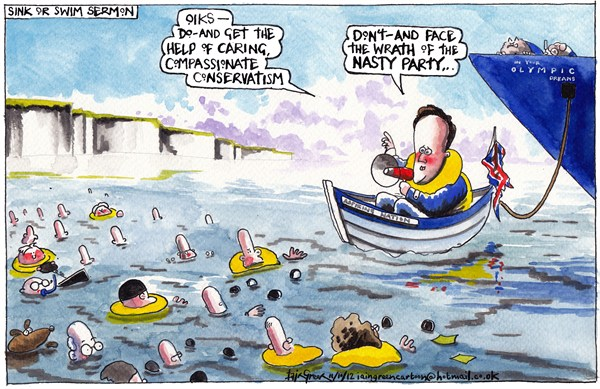 Iain Green - The Scotsman, Scotland - CAMERON CONFERENCE ULTIMATUM - English - UK, david cameron, conservative party, conference, birmingham, tory party, sea, yacht, millionaires, rich, poor, welfare, benefits, austerity, recession, economy, taxes