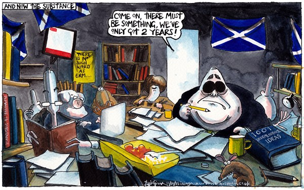 Iain Green - The Scotsman, Scotland - THE SUBSTANCE FOR SCOTTISH INDEPENDENCE - English - Scotland, alex salmond, nicola sturgeon, john swinney, referendum, independence, monkeys, pigs, snp, saltire, scottish flag, books, paper, office, bookshelves