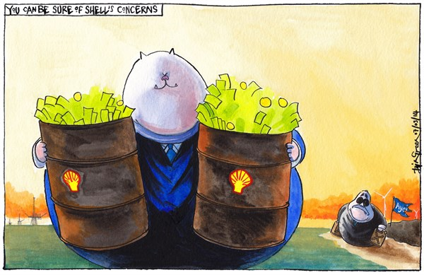 SHELLS UK OIL AND GAS INTERESTS © Iain Green,The Scotsman, Scotland,UK, scotland, scottish independence, scottish referendum, oil, gas, shell, fatcat, union, north sea, assets, alex salmond, oil drum, cash, money, profit, jerry can, rig