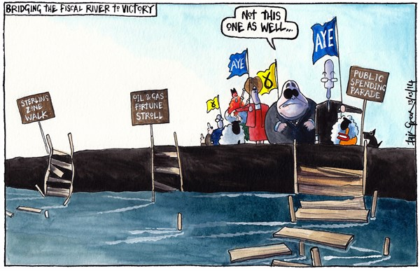 SCOTTISH INDEPENDENCE FINANCIAL TROUBLES © Iain Green,The Scotsman, Scotland,Scotland, scottish independence, scottish referendum, river, river crossing, bridges, fiscal, sterling, sterling zone, oil and gas revenue, public spending, john swinney, nicola sturgeon, alex salmond, sheep, dog, duck piper, bagpipes