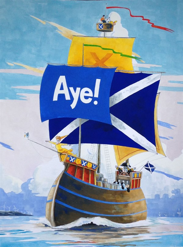 SCOTTISH SNP ELECTION VICTORY © Iain Green,Holyrood, Scotland,UK, scotland, westminster, election, alex salmond, nicola sturgeon, snp, independence, scottish independence, yellow caravel, andrew wood, sails, piper, bag pipes , aye, yes, sailing ship, water, sky
