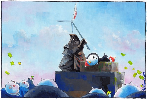 PUFFINS CHOPPED UP BY FORTH TURBINES © Iain Green,The Scotsman, Scotland,Scotland, Scotland Against Spin, forth, firth of forth, wind turbines, wind famrs, renewable energy, environment, puffins, birds, wildlife, energy, fat cats, scottish government, RSPB, executioner, turbine, axe, chopping block
