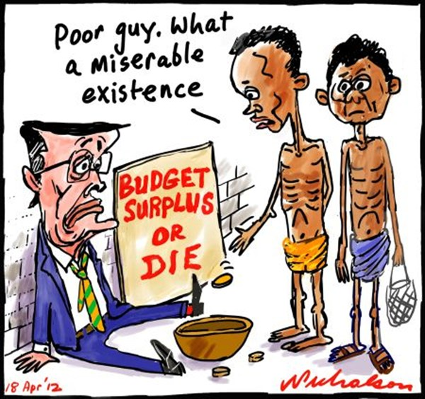 Peter Nicholson - The Australian, Sydney, Australia - Budget Surplus - English - budget,surplus,die,miserable,famine