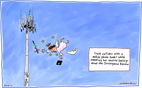 Peter Nicholson - The Australian, Sydney, Australia - Truth Collides - English - cell phone,tower,collide,tweet