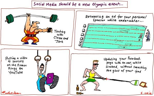 Social Media © Peter Nicholson,The Australian, Sydney, Australia,social,texting,phone,olympics,facebook,ipad,car,water,ad,rings,you tube,olympics,