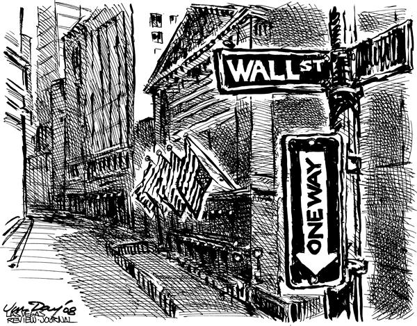 Jim Day - Las Vegas Review-Journal - One Way Wall Street - English - Wall Street, Lehman Brothers, financial meltdown, stocks, recession