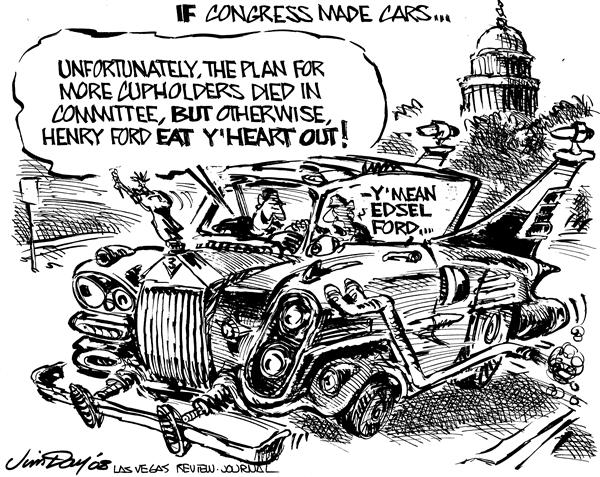 Jim Day - Las Vegas Review-Journal - What if Congress made cars - English - Detroit bailout, congress, cars, automobiles, car makers