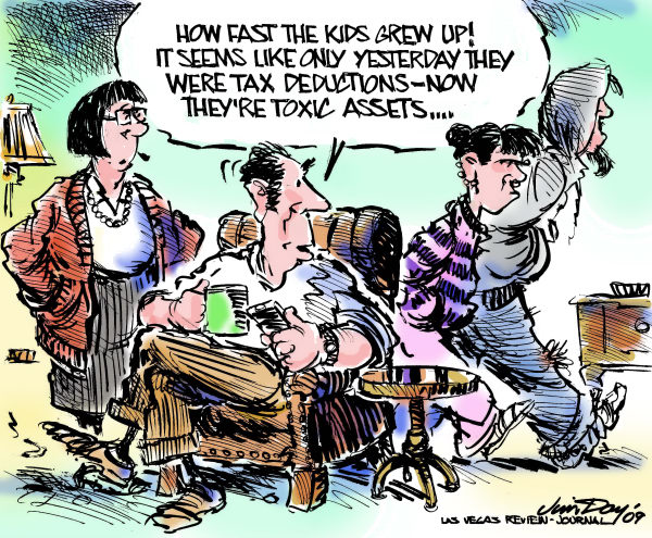 Jim Day - Las Vegas Review-Journal - Kids, from tax deductions to toxic assets - English - Kids, parents, toxic assets