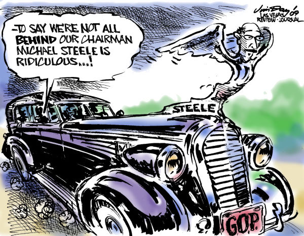 Jim Day - Las Vegas Review-Journal - Solidly behind Steele - English - RNC chairman Steele, Republican party, GOP