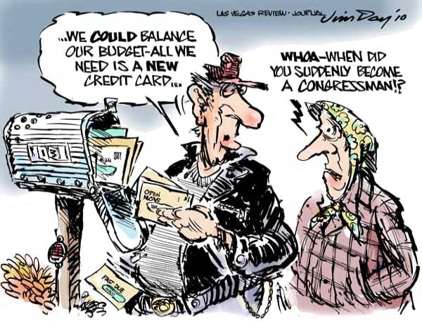 Jim Day - Las Vegas Review-Journal - Balancing the budget - COLOR - English - Balancing the budget, Congress, deficit, credit cards