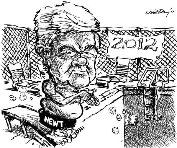 Jim Day - Las Vegas Review-Journal - Newt dives in - English - Newt Gingrich, presidential politics, presidential candidates, 2012 election year, House Republicans, House majority leader, Georgia, Congress, conservatives, tea party