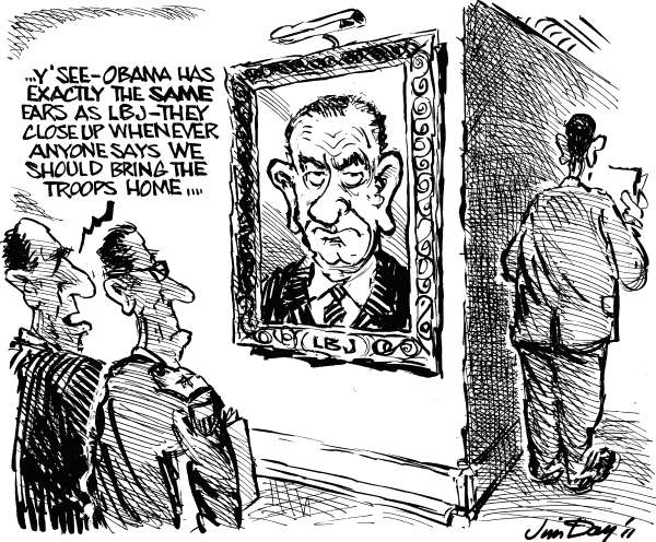 Jim Day - Politicalcartoons.com - Obama another LBJ - English - 				Barack Obama,Lyndon Johnson,war,war strategy,pentagon,Vietnam,Iraq,Afghanistan,Libya,bring home the troops,US military,declaration of war,Middle East war,big ears,declaration of war