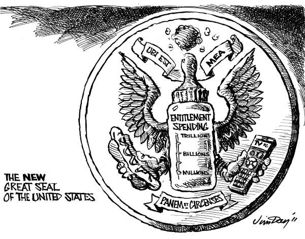 Jim Day - Politicalcartoons.com - The Great Seal of the U.S. for the 21st Century - English - 		Entitlements,the Great Seal,Bread and Circuses,budget deficit,Social Security,Medicare,Medicaid,entitlement spending,Whats in it for me,welfare,federal spending,federal budget