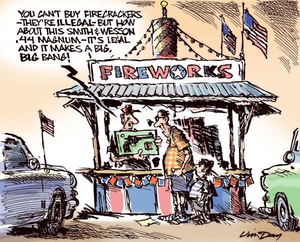 Jim Day - Politicalcartoons.com - Sane and Safe July Fourth - COLOR - English - Fourth of July, fireworks, illegal fireworks, firecrackers, gun control, guns, firearms, Second Amendment rights, handguns