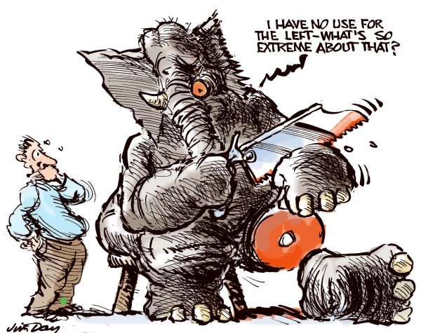 Jim Day - Politicalcartoons.com - Getting rid of the extreme left - color - English - Republican Party, GOP, Congress, Tea Party, extremism, the extreme left, the extreme right, right wing Republicans, elephants
