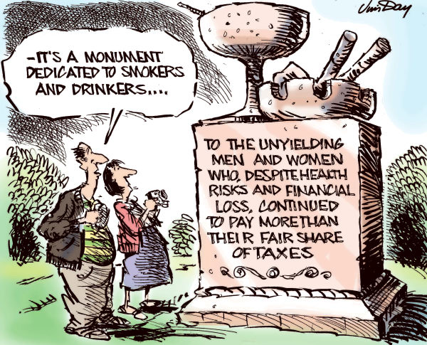 Jim Day - Politicalcartoons.com - A monument to smokers and drinkers - color - English - Cigarette tax, alcohol tax, sin tax, smokers, drinkers, state revenue, beer, liquor, smokers, high taxes, unfair taxes