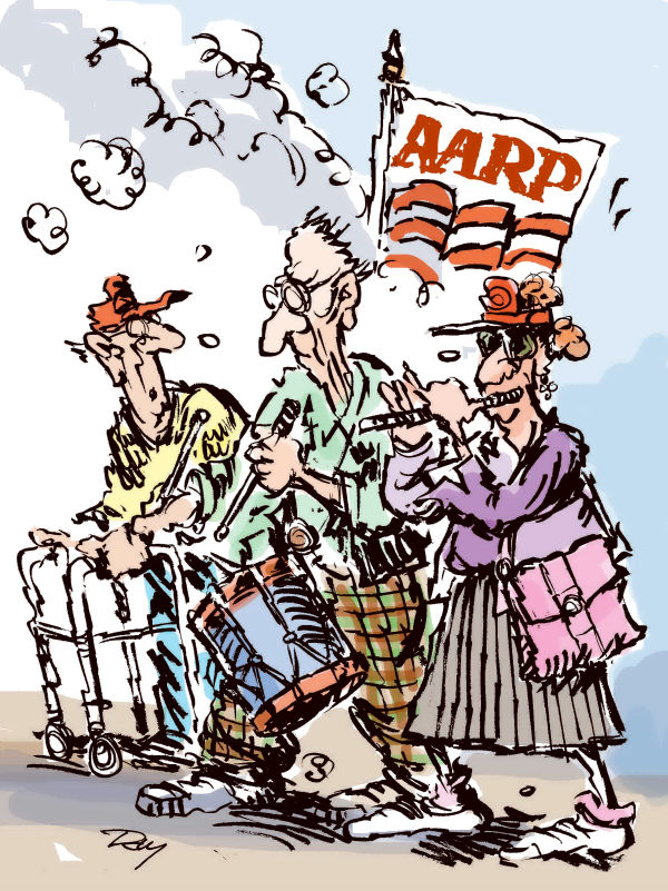 Jim Day - Politicalcartoons.com - AARP to declare war on Social Security cuts - English - AARP, retirees, senior citizens, Social Security benefits, cutting Social Security, entitlements, Medicare, old age pensions, government benefits