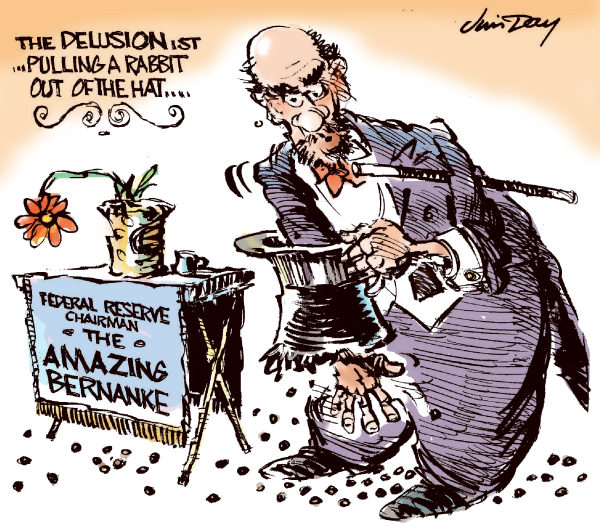 Jim Day - Politicalcartoons.com - The Amazing Bernanke - COLOR - English - Federal Reserve Chairman Bernanke, recession, double dip, low interest rates, stock market, US Treasury, stimulus, monetary policy, hat tricks