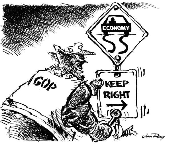 Jim Day - Politicalcartoons.com - Turn Right - English - Republican economic policy, fiscal conservatives, money, economy, tea party, Rep Paul Ryan, recession, double-dip, far right, GOP, Federal Reserve