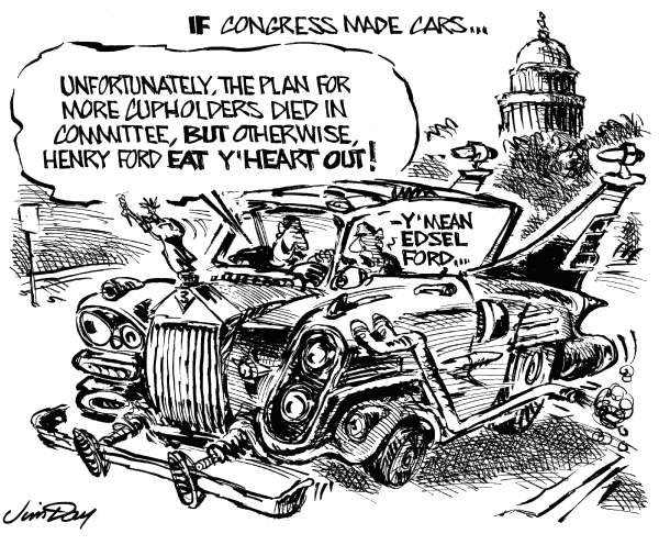 If Congress made cars © Jim Day,Politicalcartoons.com,Do-nothing Congress, US House, US Senate, Washington DC, gridlock, cars, Edsel Ford, compromise