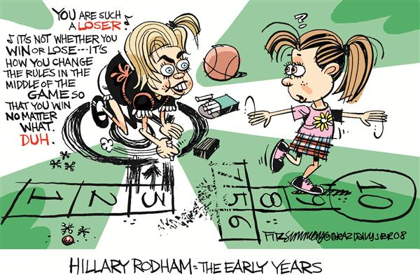 David Fitzsimmons - The Arizona Star - Hillary Changes Rules - English - Hillary, Clinton, rules, campaign, election, 2008