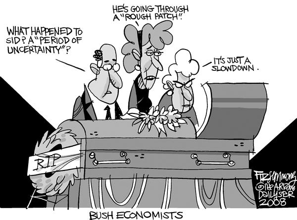 David Fitzsimmons - The Arizona Star - Bush Economists - English - Economy, Bush, slowdown, uncertainty, economists