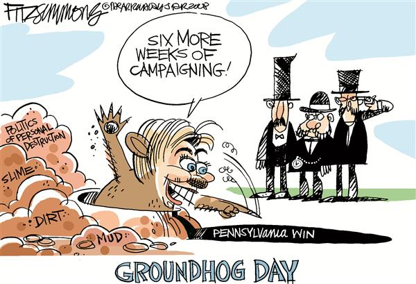 David Fitzsimmons - The Arizona Star - Hillary Ground Hog COLOR - English - Hillary, Clinton, elections, campaign, 2008, Pennsylvania, Ground Hog day, slime, dirt, mud