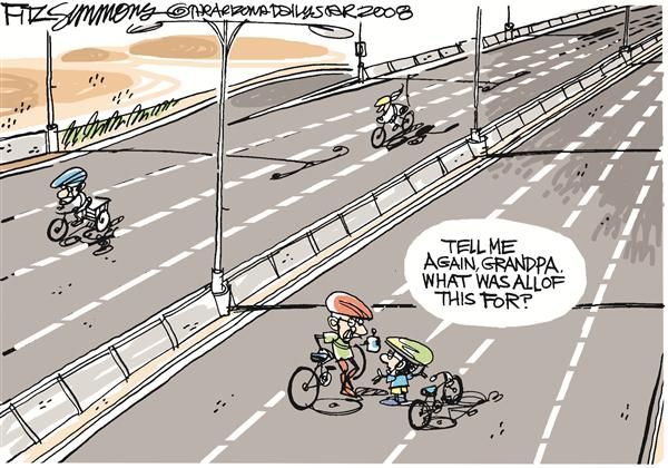 David Fitzsimmons - The Arizona Star - Empty Roads - English - Roads, streets, highways, fuel, cars, bikes, bicycle, oil, gas