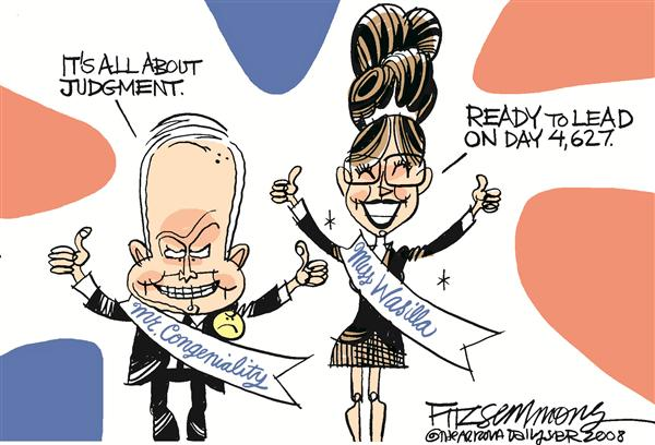 The Ticket  COLOR © David Fitzsimmons,The Arizona Star,McCain, Palin, GOP, Republican, age, experience, elections, 2008