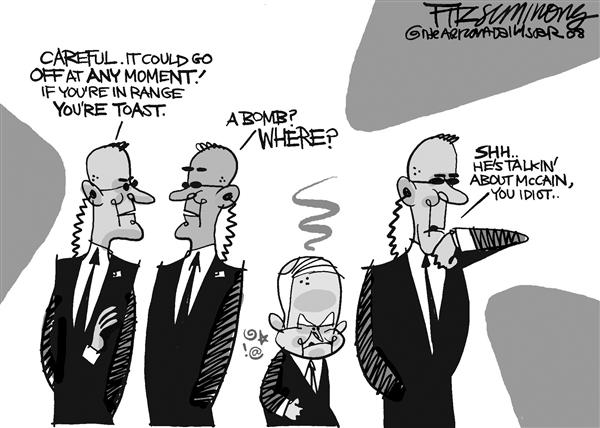 David Fitzsimmons - The Arizona Star - McTemper - Color - English - mccain, temper, secret service, campaign, election, 2008