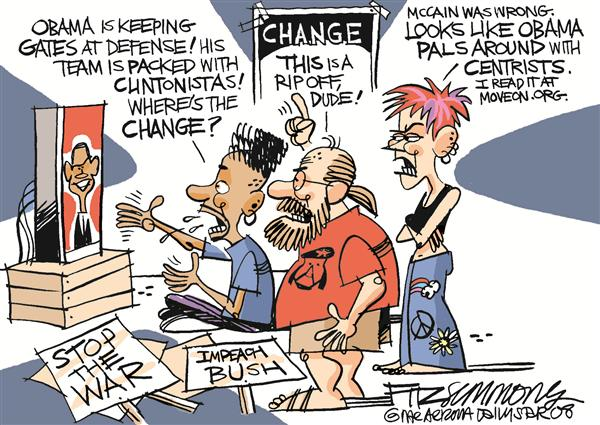 David Fitzsimmons - The Arizona Star - wheres the change COLOR - English - obama, gates, liberals, centrists, change