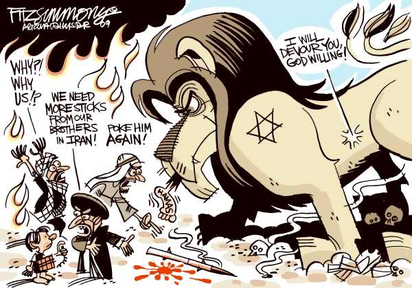 David Fitzsimmons - The Arizona Star - Gaza - color - English - Gaza, middle east, israel, hamas, bombings, bombs, deaths,lion