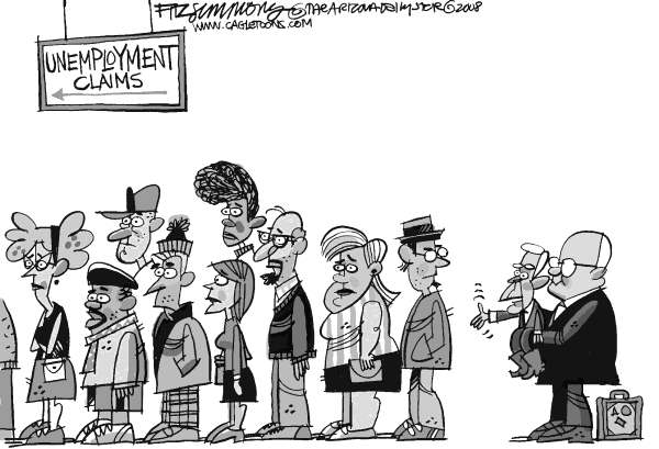 David Fitzsimmons - The Arizona Star - unemployed - English - unemployment, Bush, jobs, economy, Cheney