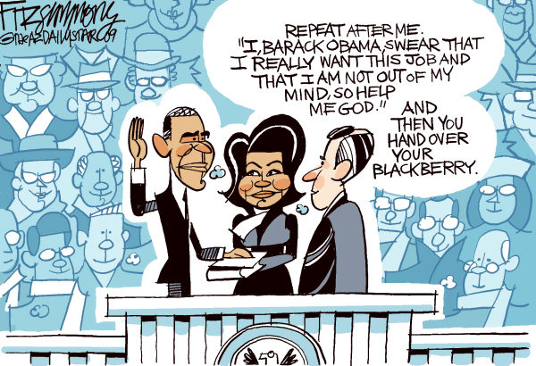 David Fitzsimmons - The Arizona Star - Inauguration - color - English - obama, inauguration, blackberry