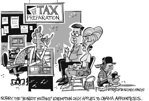 David Fitzsimmons - The Arizona Star - Tax mistake - English - daschle, taxes, Obama, appointees, exemption