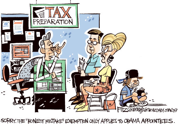 David Fitzsimmons - The Arizona Star - Tax mistake COLOR - English - daschle, taxes, Obama, appointees, exemption