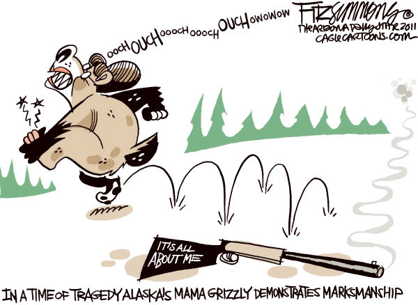 David Fitzsimmons - The Arizona Star - mama griz - English - palin, bear, gun, hunt, shoot