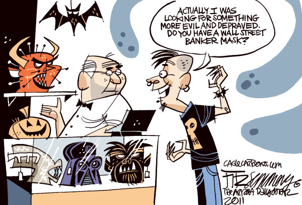 scary wall street Color © David Fitzsimmons,The Arizona Star,occupy wall street, recession, economy, halloween, protesters