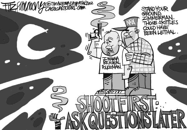David Fitzsimmons - The Arizona Star - Trayvon - English - Trayvon Martin, Zimmerman, florida shooting, NRA, Guns, gun law