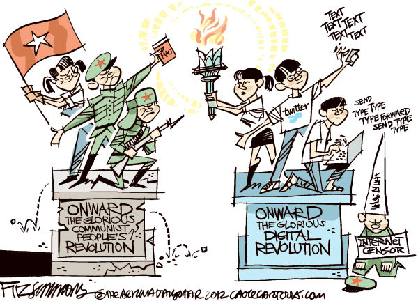 China and the net © David Fitzsimmons,The Arizona Star,China, twitter, retail, marketing, social networking, censorship, human rights