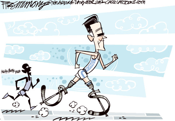 David Fitzsimmons - The Arizona Star - Prosthetics in the race - English - Romney, Obama, politics, a campaign 2012, olympics