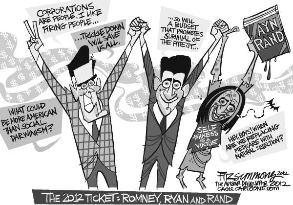 David Fitzsimmons - The Arizona Star - corrected version Romney Ryan and Rand - English - Romney, Ryan, Rand