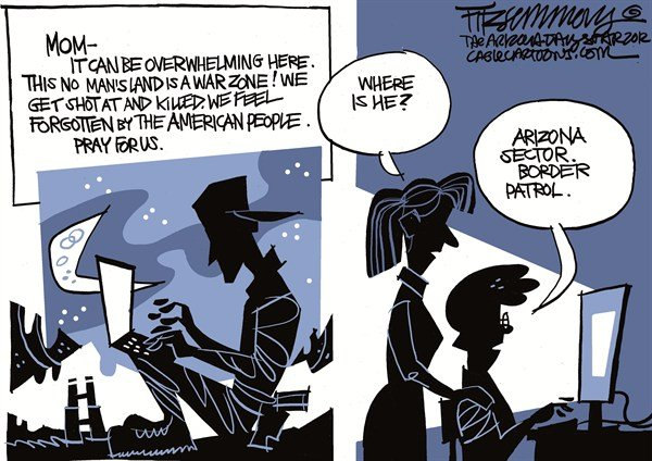 David Fitzsimmons - The Arizona Star - War zone - English - arizona, mexico, immigration, border patrol