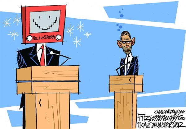David Fitzsimmons - The Arizona Star - Primer Debate - Spanish - Barack,Obama,presidente,USA,GOP,Mitt,Romney,eleccion,2012,campaña,debate,presidencial,Denver,post,debate,despues,romney-obama-debate